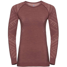 Odlo Natural + Kinship Bl L/S Top Crew Neck Women, roan rouge melange